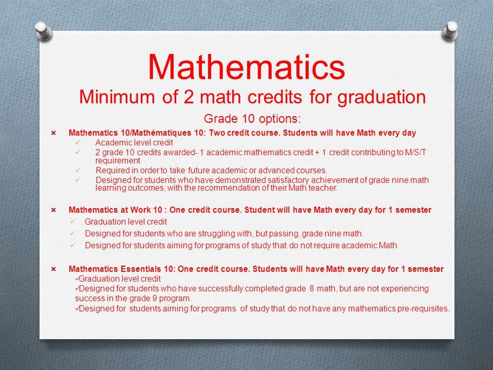 Mathematics Minimum of 2 math credits for graduation Grade 10 options:  Mathematics 10/Mathématiques 10: Two credit course.