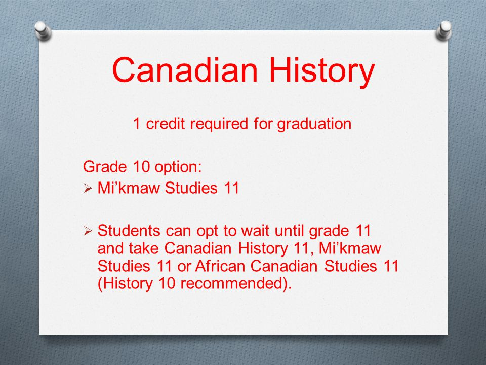 Canadian History 1 credit required for graduation Grade 10 option:  Mi'kmaw Studies 11  Students can opt to wait until grade 11 and take Canadian History 11, Mi'kmaw Studies 11 or African Canadian Studies 11 (History 10 recommended).
