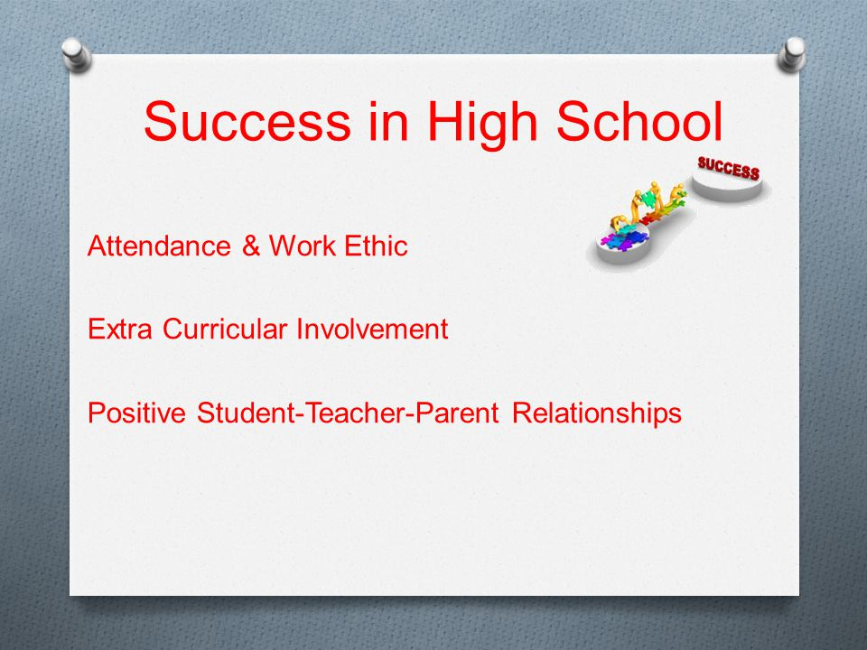 Success in High School Attendance & Work Ethic Extra Curricular Involvement Positive Student-Teacher-Parent Relationships