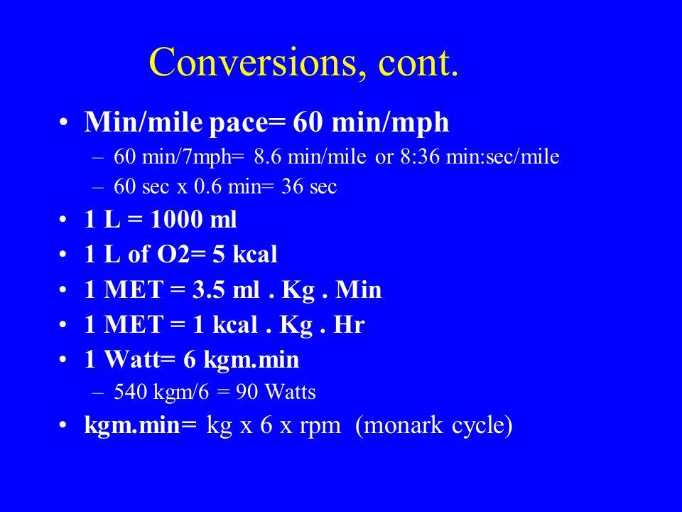 Conversions, cont. Min/mile pace= 60 min/mph –60 min/7mph= 8.6 min/mile or 8:36 min:sec/mile –60 sec x 0.6 min= 36 sec 1 L = 1000 ml 1 L of O2= 5 kcal