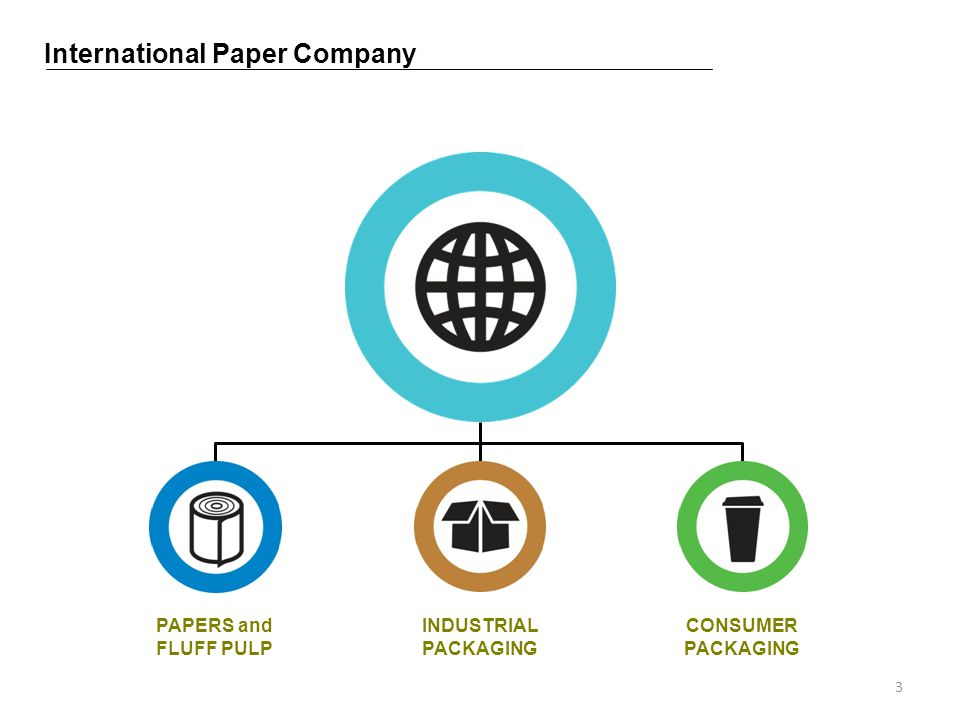 International Paper Company PAPERS and FLUFF PULP INDUSTRIAL PACKAGING CONSUMER PACKAGING 3