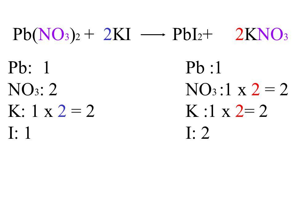 Pb(NO 3 ) 2 + 2KI PbI 2 + 2KNO 3 Pb: 1Pb :1 NO 3 : 2NO 3 :1 x 2 = 2 K: 1 x 2 = 2K :1 x 2= 2 I: 1I: 2