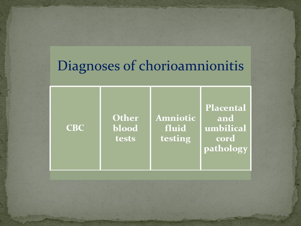 Diagnoses of chorioamnionitis CBC Other blood tests Amniotic fluid testing Placental and umbilical cord pathology