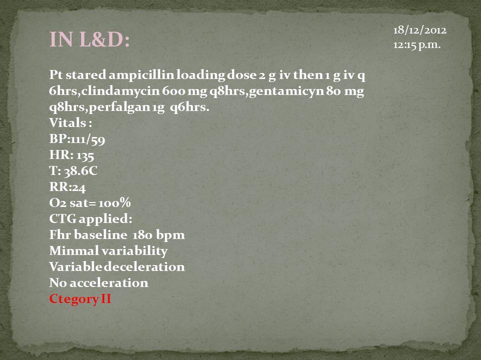 18/12/2012 12:15 p.m. IN L&D: Pt stared ampicillin loading dose 2 g iv then 1 g iv q 6hrs,clindamycin 600 mg q8hrs,gentamicyn 80 mg q8hrs,perfalgan 1g