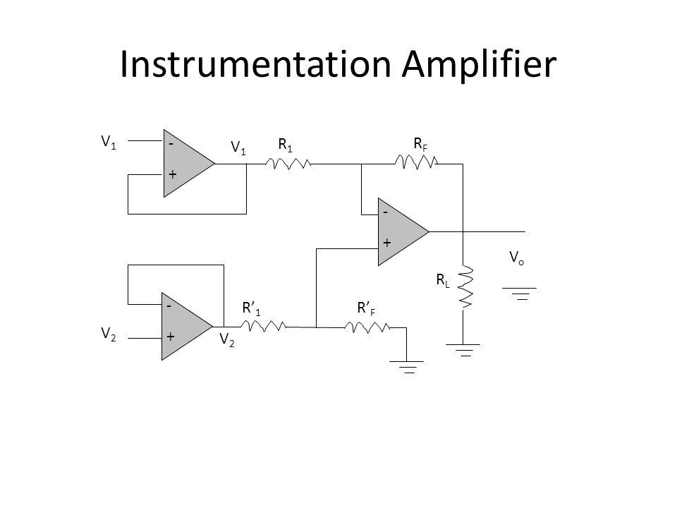 Instrumentation Amplifier VoVo -+-+ RFRF R1R1 V1V1 V2V2 R' 1 R' F RLRL -+-+ -+-+ V1V1 V2V2