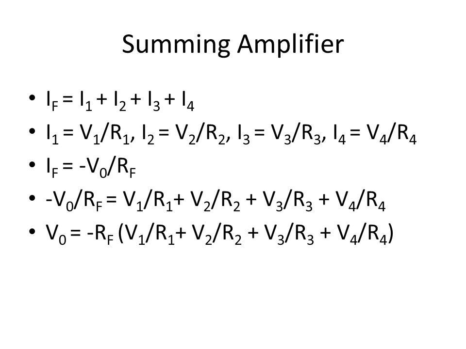 Summing Amplifier I F = I 1 + I 2 + I 3 + I 4 I 1 = V 1 /R 1, I 2 = V 2 /R 2, I 3 = V 3 /R 3, I 4 = V 4 /R 4 I F = -V 0 /R F -V 0 /R F = V 1 /R 1 + V 2 /R 2 + V 3 /R 3 + V 4 /R 4 V 0 = -R F (V 1 /R 1 + V 2 /R 2 + V 3 /R 3 + V 4 /R 4 )