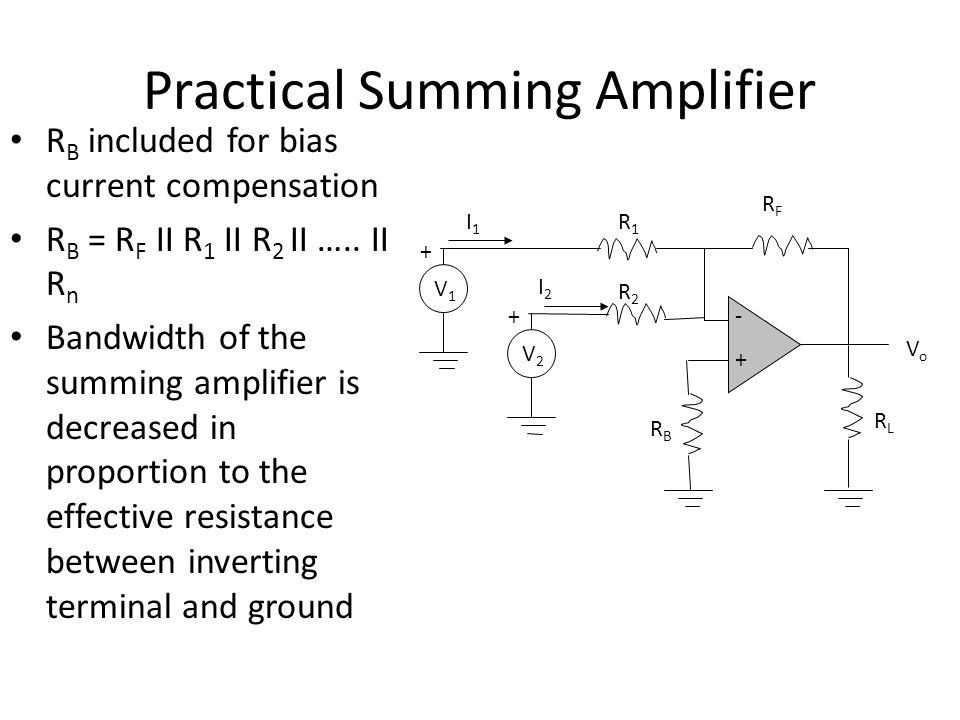 Practical Summing Amplifier R B included for bias current compensation R B = R F II R 1 II R 2 II …..