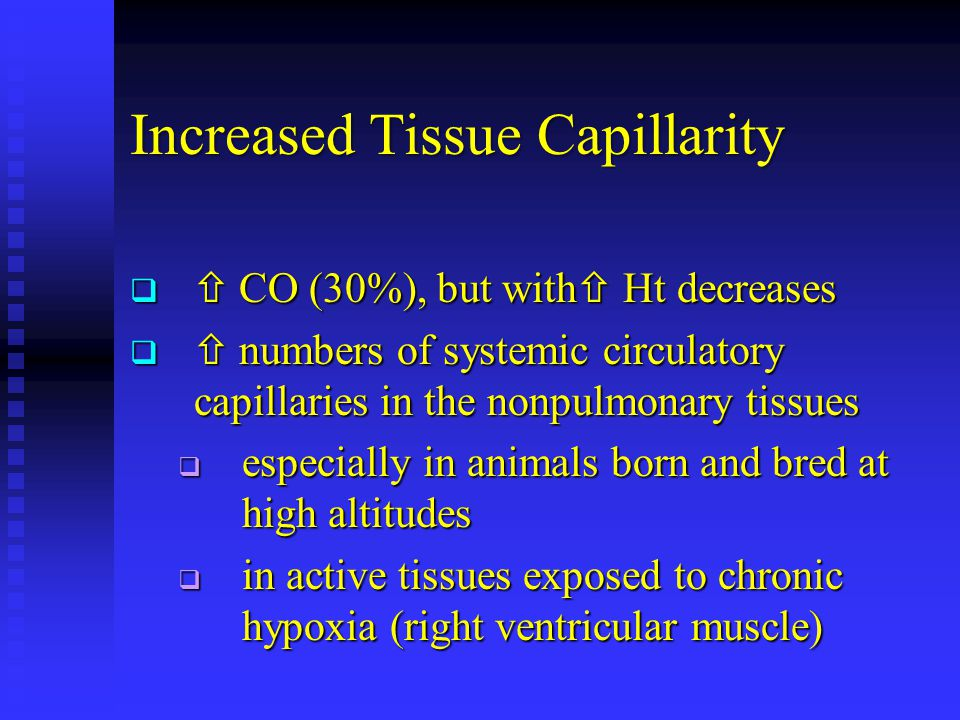 Increased Tissue Capillarity   CO (30%), but with  Ht decreases   numbers of systemic circulatory capillaries in the nonpulmonary tissues  especially in animals born and bred at high altitudes  in active tissues exposed to chronic hypoxia (right ventricular muscle)
