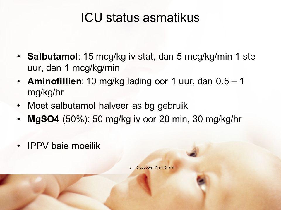 Anafilakse O2 Adrenalien 0.01 ml/kg imi (1:1000), dan infuus Vogbolus 10 ml/kg Salbutamol/adrenalien nebulisasie Metielprednisiloon (Solu-Medrol) 2 mg/kg iv stat Chloorpheniramien 0.25 mg/kg