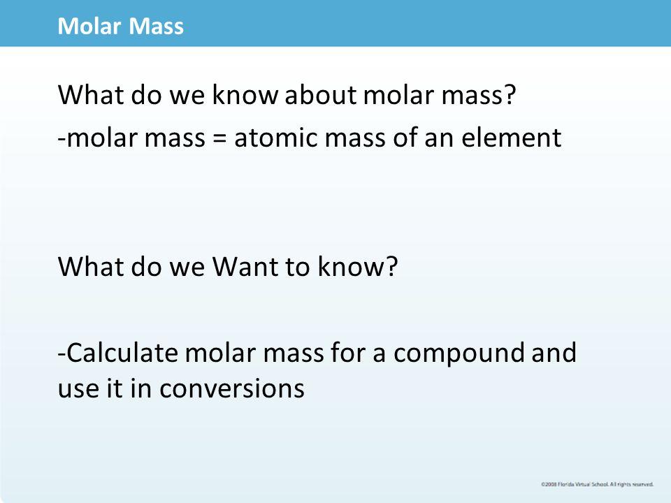 Using Molar Mass Calculations Ex.