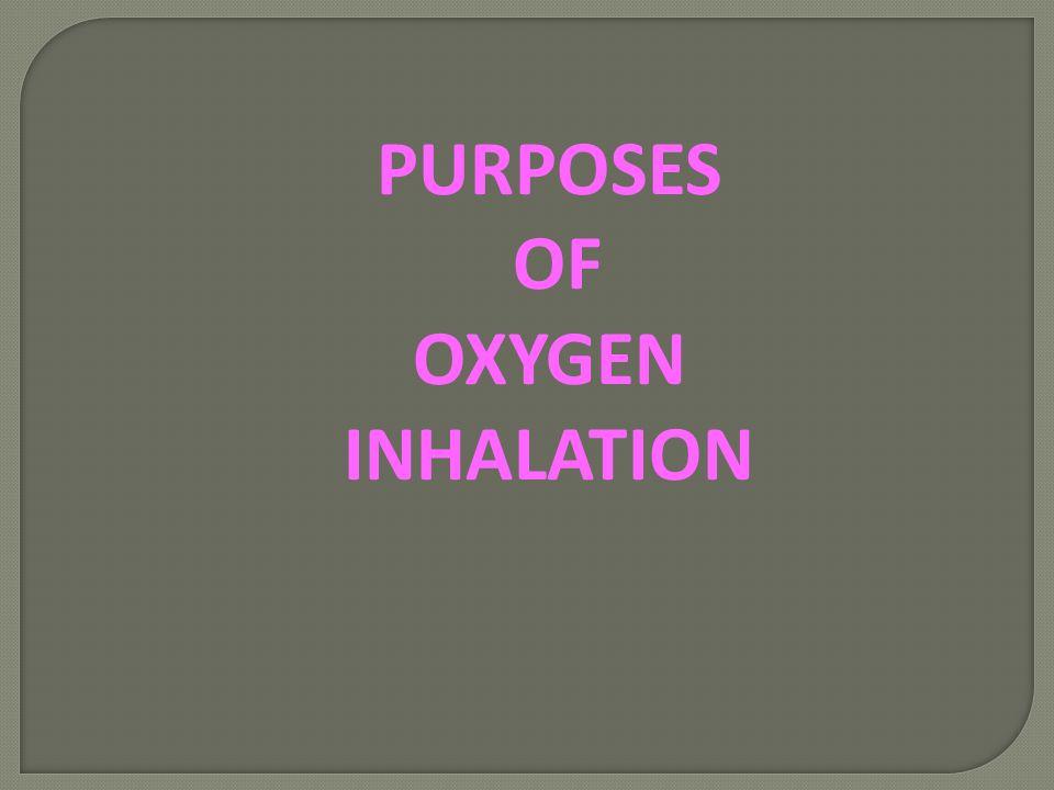 PURPOSES OF OXYGEN INHALATION