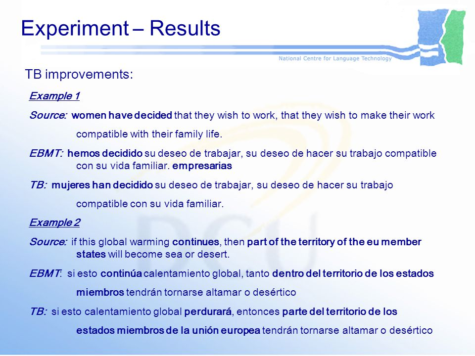 Experiment – Results TB improvements: Example 1 Source: women have decided that they wish to work, that they wish to make their work compatible with their family life.