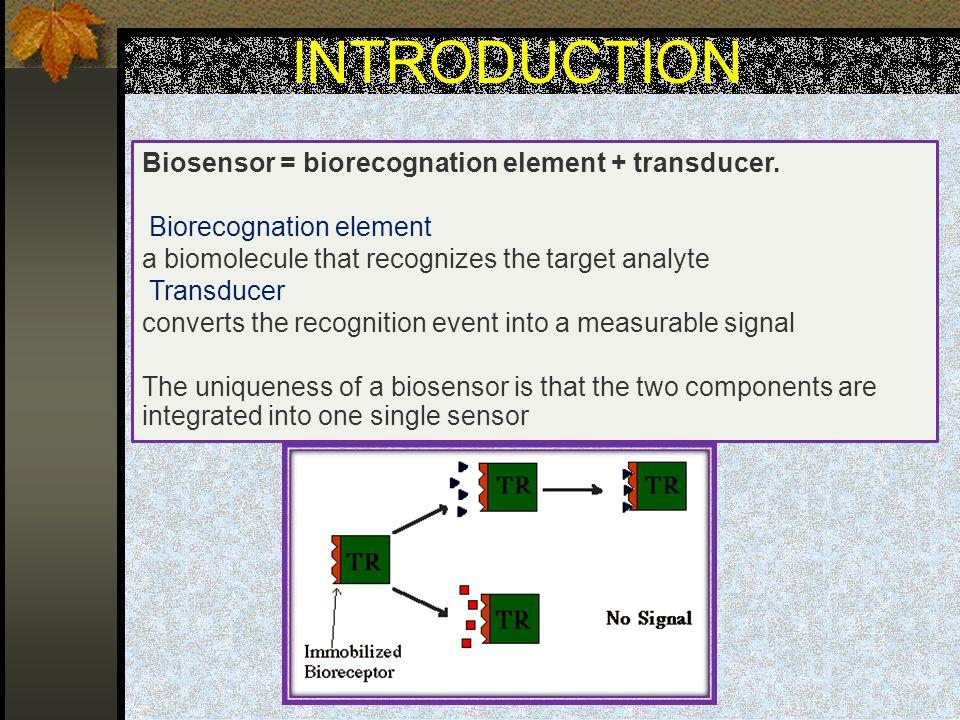 INTRODUCTION Biosensor = biorecognation element + transducer.