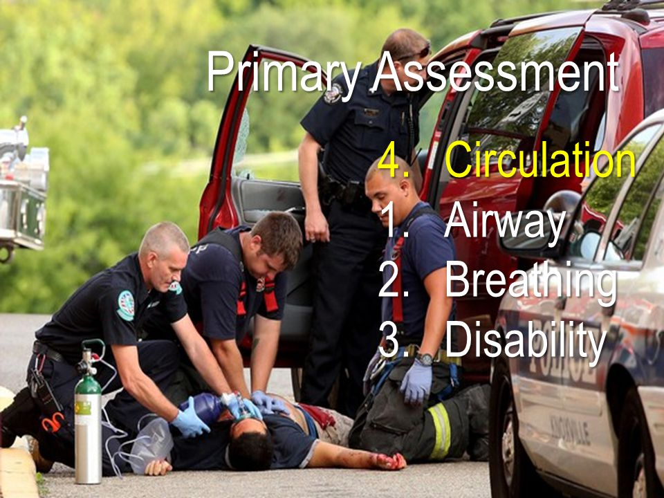 Primary Assessment 4.Circulation 1.Airway 2.Breathing 3.Disability