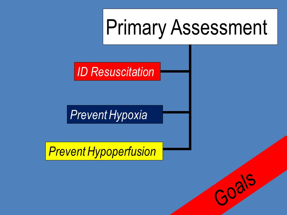 Primary Assessment ID Resuscitation Prevent Hypoxia Prevent Hypoperfusion Goals