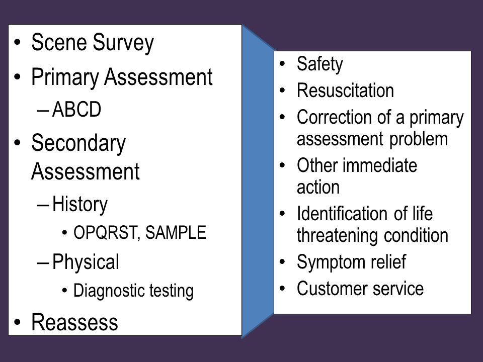 Scene Survey Primary Assessment – ABCD Secondary Assessment – History OPQRST, SAMPLE – Physical Diagnostic testing Reassess Safety Resuscitation Correction of a primary assessment problem Other immediate action Identification of life threatening condition Symptom relief Customer service