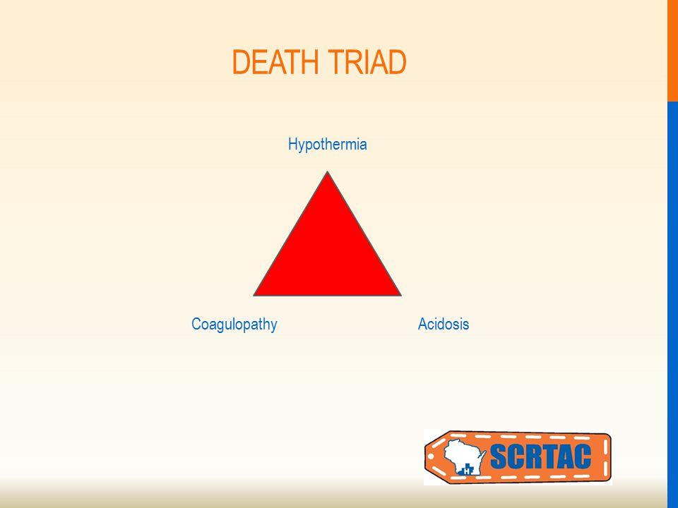 DEATH TRIAD Hypothermia AcidosisCoagulopathy