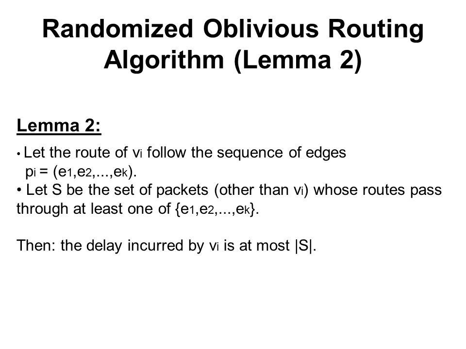 Randomized Oblivious Routing Algorithm (Lemma 2) Lemma 2: Let the route of v i follow the sequence of edges p i = (e 1,e 2,...,e k ).
