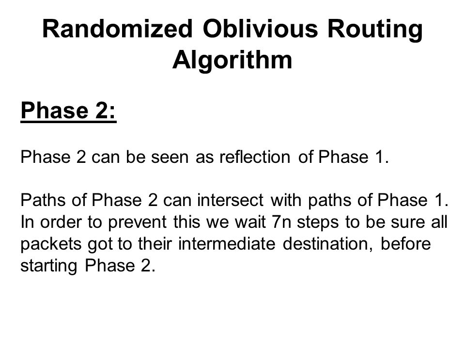 Randomized Oblivious Routing Algorithm Phase 2: Phase 2 can be seen as reflection of Phase 1.