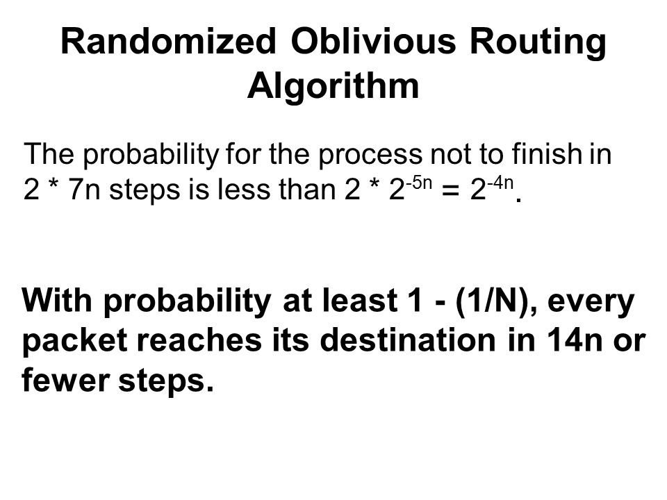 Randomized Oblivious Routing Algorithm The probability for the process not to finish in 2 * 7n steps is less than 2 * 2 -5n = 2 -4n.