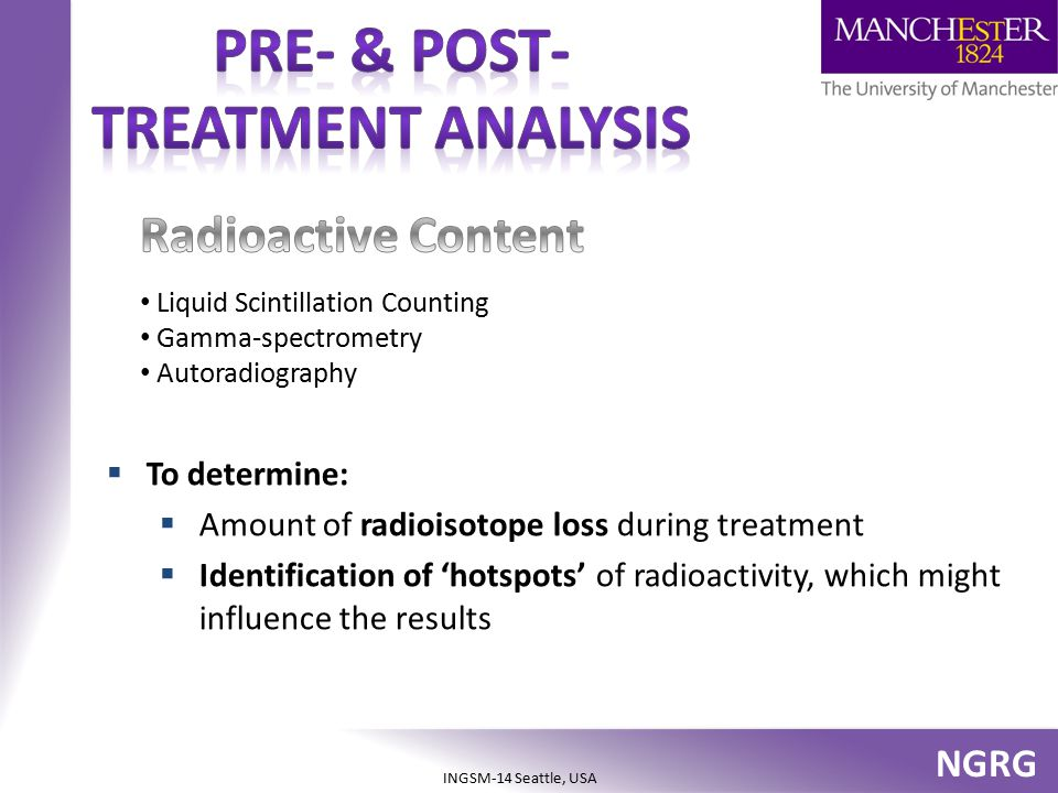 NGRG INGSM-14 Seattle, USA  To determine:  Amount of radioisotope loss during treatment  Identification of 'hotspots' of radioactivity, which might