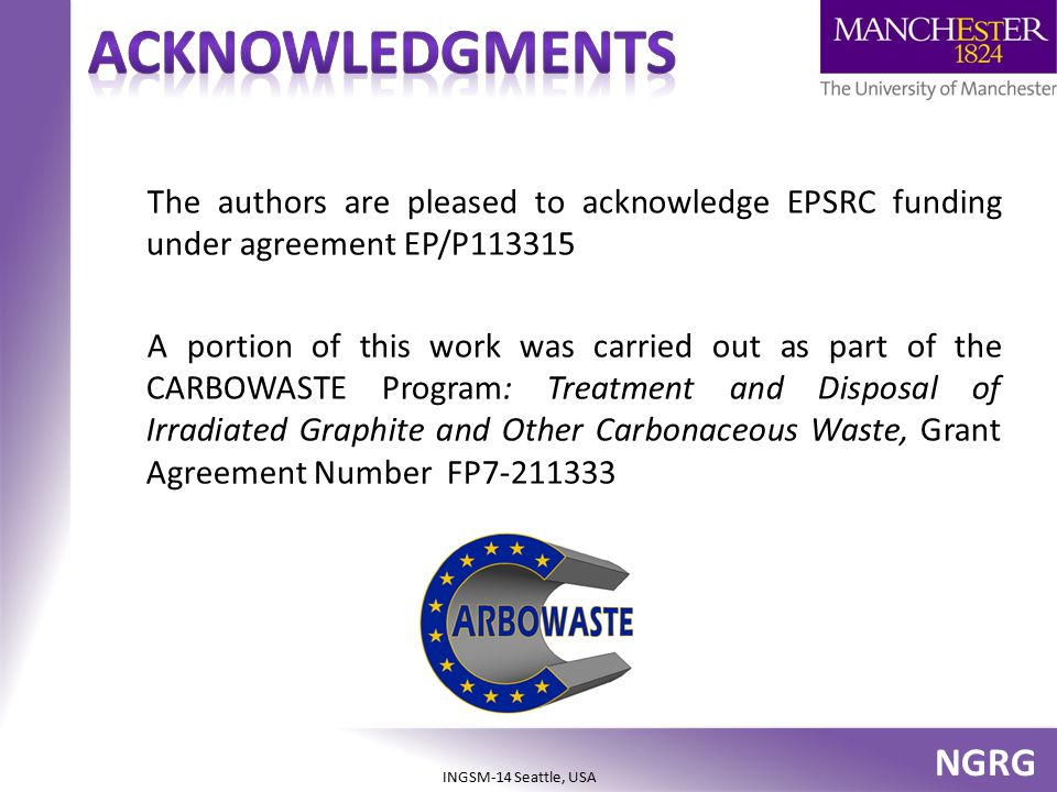 NGRG INGSM-14 Seattle, USA The authors are pleased to acknowledge EPSRC funding under agreement EP/P113315 A portion of this work was carried out as p