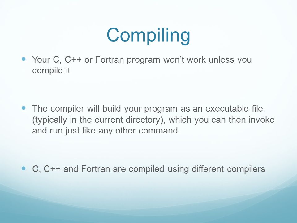 Another Fortran compiler available at CERI is the SUN distribution /usr/bin/f77 /usr/bin/f90 /usr/bin/f95 File names ending in.f90 and.f95 are assumed to be free source form - suitable for Fortran 90/95 compilation.