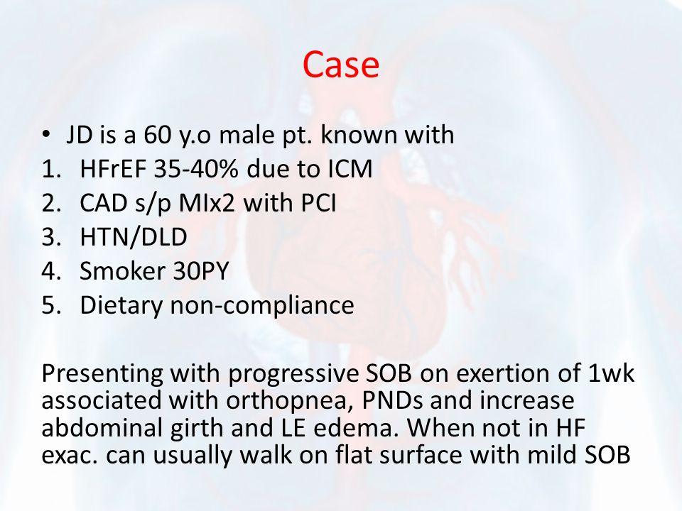 PE: VS: 120/70 100 SR 25 afebrile JVD to mandible S4 heard, no murmurs Crackles +2 LEE CXR: Pulmonary edema ProBNP=10k, Cr=2 with baseline of 1.2 Meds: Lisinopril 20, Metoprolol succinate 100, aspirin 81, atorvastatin 20mg, imdur 30mg and Lasix 40mg