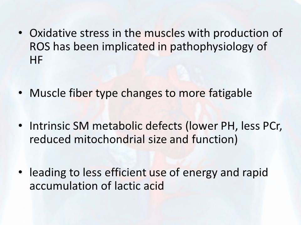 Oxidative stress in the muscles with production of ROS has been implicated in pathophysiology of HF Muscle fiber type changes to more fatigable Intrinsic SM metabolic defects (lower PH, less PCr, reduced mitochondrial size and function) leading to less efficient use of energy and rapid accumulation of lactic acid