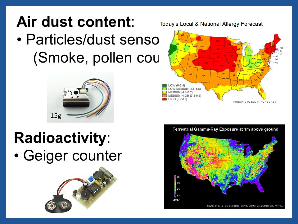 Air dust content: Particles/dust sensor (Smoke, pollen count) Radioactivity: Geiger counter 15g