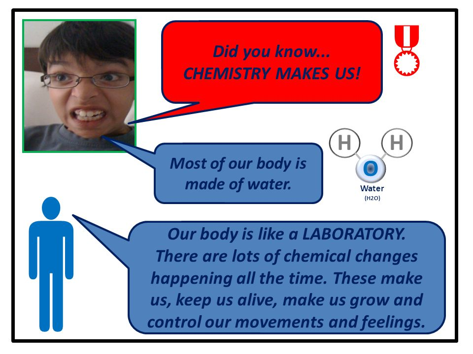  Did you know... CHEMISTRY MAKES US! Most of our body is made of water. Our body is like a LABORATORY. There are lots of chemical changes happening a