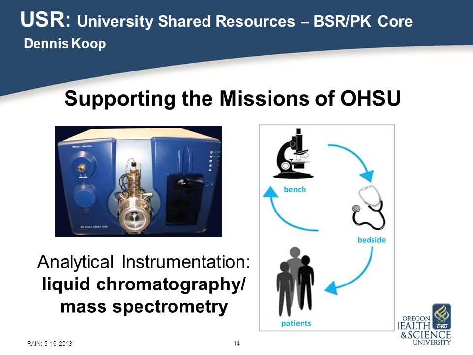 Analytical Instrumentation: liquid chromatography/ mass spectrometry USR: University Shared Resources – BSR/PK Core Dennis Koop Supporting the Missions of OHSU 14 RAIN: 5-16-2013