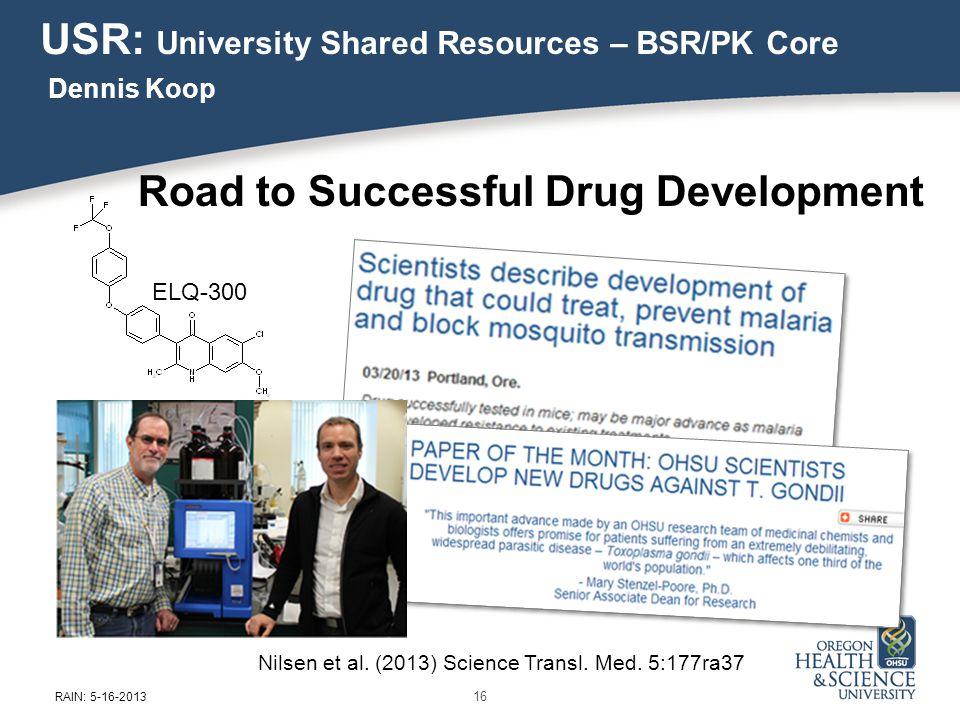 Nilsen et al. (2013) Science Transl. Med. 5:177ra37 ELQ-300 16 RAIN: 5-16-2013 Road to Successful Drug Development USR: University Shared Resources –