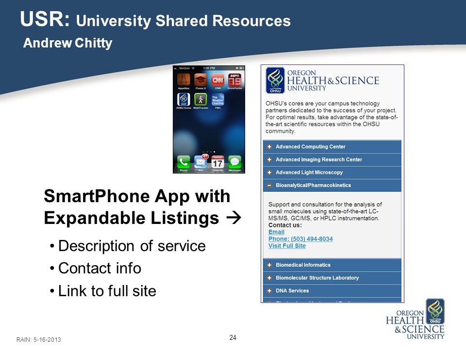 24 USR: University Shared Resources Andrew Chitty RAIN: 5-16-2013 SmartPhone App with Expandable Listings  Description of service Contact info Link to full site