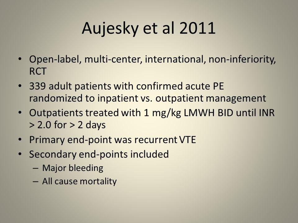 Aujesky et al 2011 Open-label, multi-center, international, non-inferiority, RCT 339 adult patients with confirmed acute PE randomized to inpatient vs
