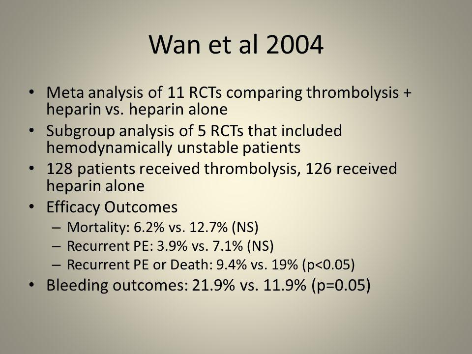 Wan et al 2004 Meta analysis of 11 RCTs comparing thrombolysis + heparin vs. heparin alone Subgroup analysis of 5 RCTs that included hemodynamically u