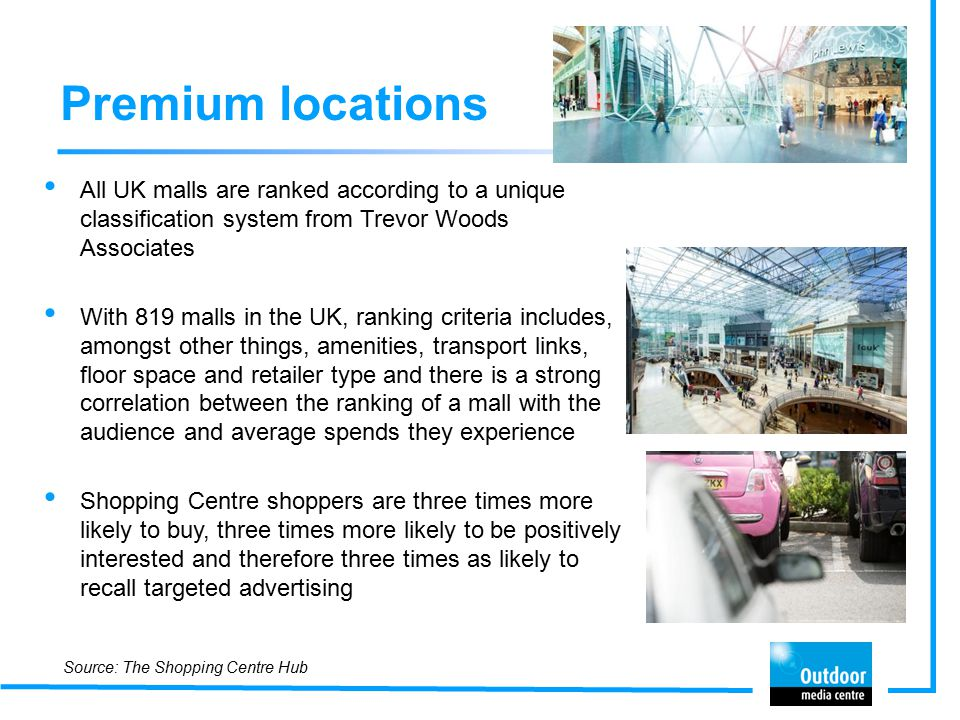 Premium locations All UK malls are ranked according to a unique classification system from Trevor Woods Associates With 819 malls in the UK, ranking criteria includes, amongst other things, amenities, transport links, floor space and retailer type and there is a strong correlation between the ranking of a mall with the audience and average spends they experience Shopping Centre shoppers are three times more likely to buy, three times more likely to be positively interested and therefore three times as likely to recall targeted advertising Source: The Shopping Centre Hub