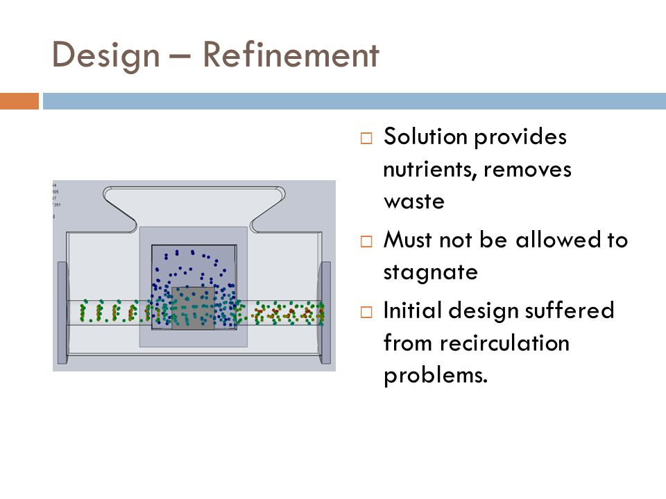 Design – Refinement  Solution provides nutrients, removes waste  Must not be allowed to stagnate  Initial design suffered from recirculation problems.