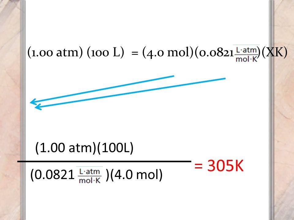 (0.0821 )(4.0 mol) (1.00 atm)(100L) = 305K (1.00 atm) (100 L) = (4.0 mol)(0.0821 )(XK)