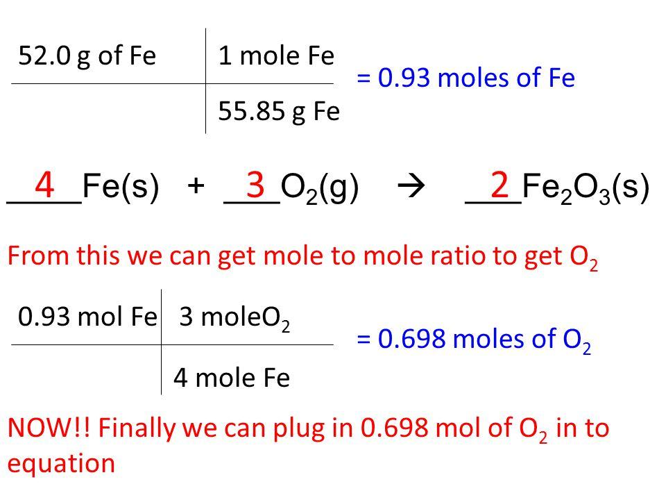 52.0 g of Fe = 0.93 moles of Fe 1 mole Fe 55.85 g Fe From this we can get mole to mole ratio to get O 2 ____Fe(s) + ___O 2 (g)  ___Fe 2 O 3 (s) 234 0