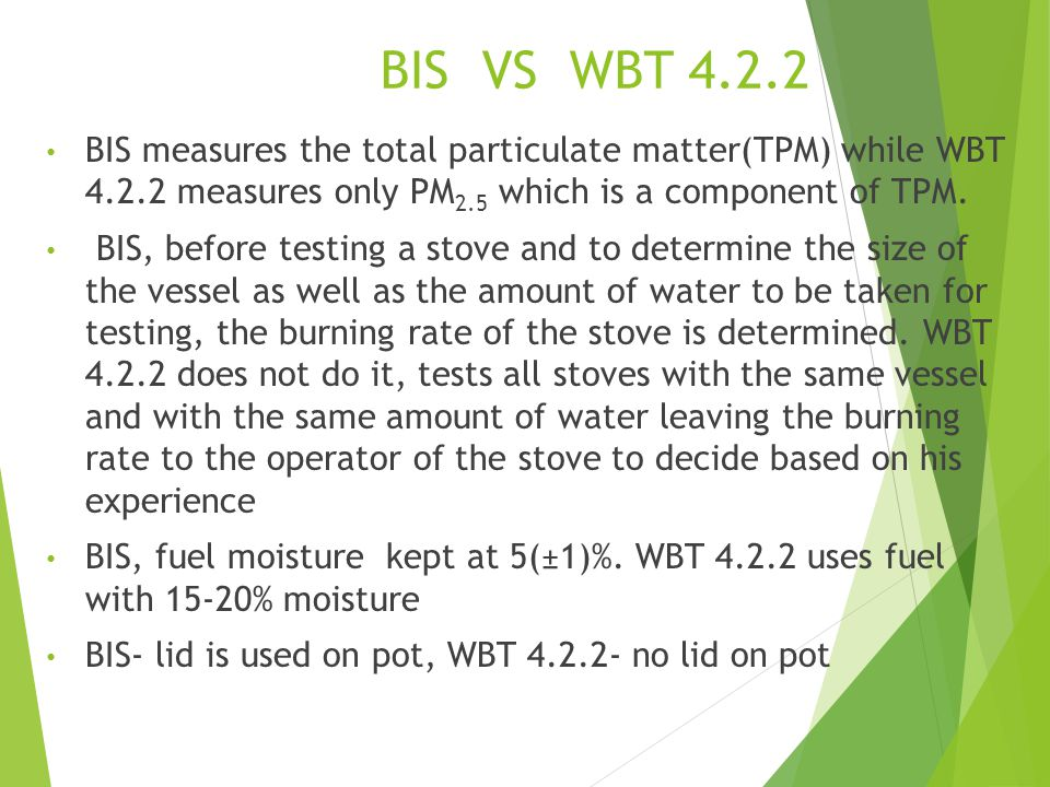 BIS VS WBT 4.2.2 BIS measures the total particulate matter(TPM) while WBT 4.2.2 measures only PM 2.5 which is a component of TPM.