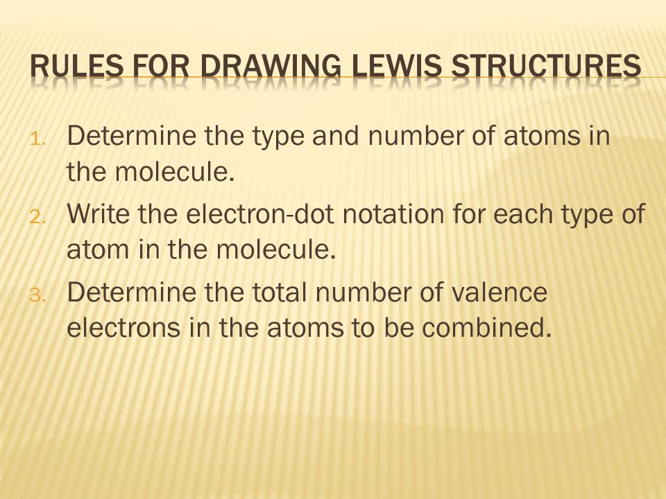 1. Determine the type and number of atoms in the molecule.