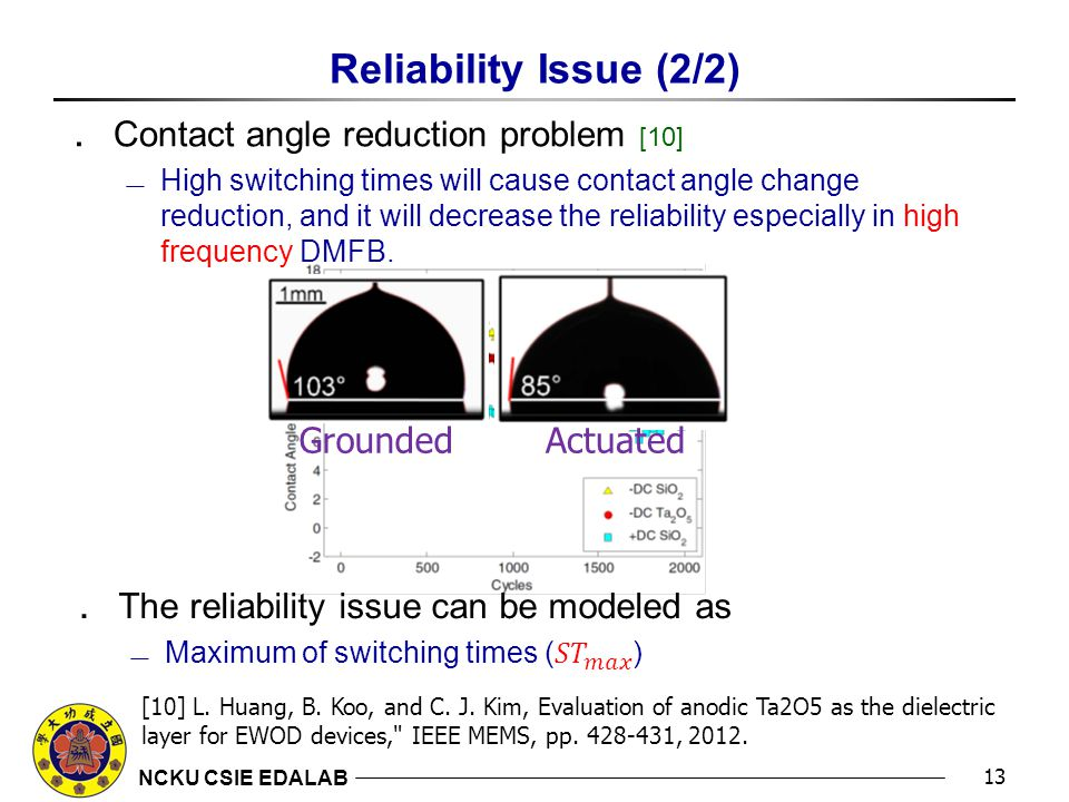 NCKU CSIE EDALAB Reliability Issue (2/2) ․ Contact angle reduction problem [10]  High switching times will cause contact angle change reduction, and it will decrease the reliability especially in high frequency DMFB.