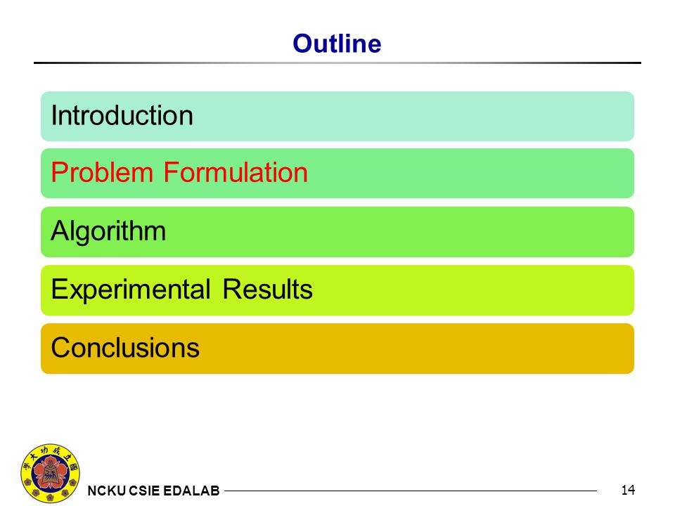 NCKU CSIE EDALAB Outline 14 Introduction Problem Formulation Algorithm Experimental Results Conclusions