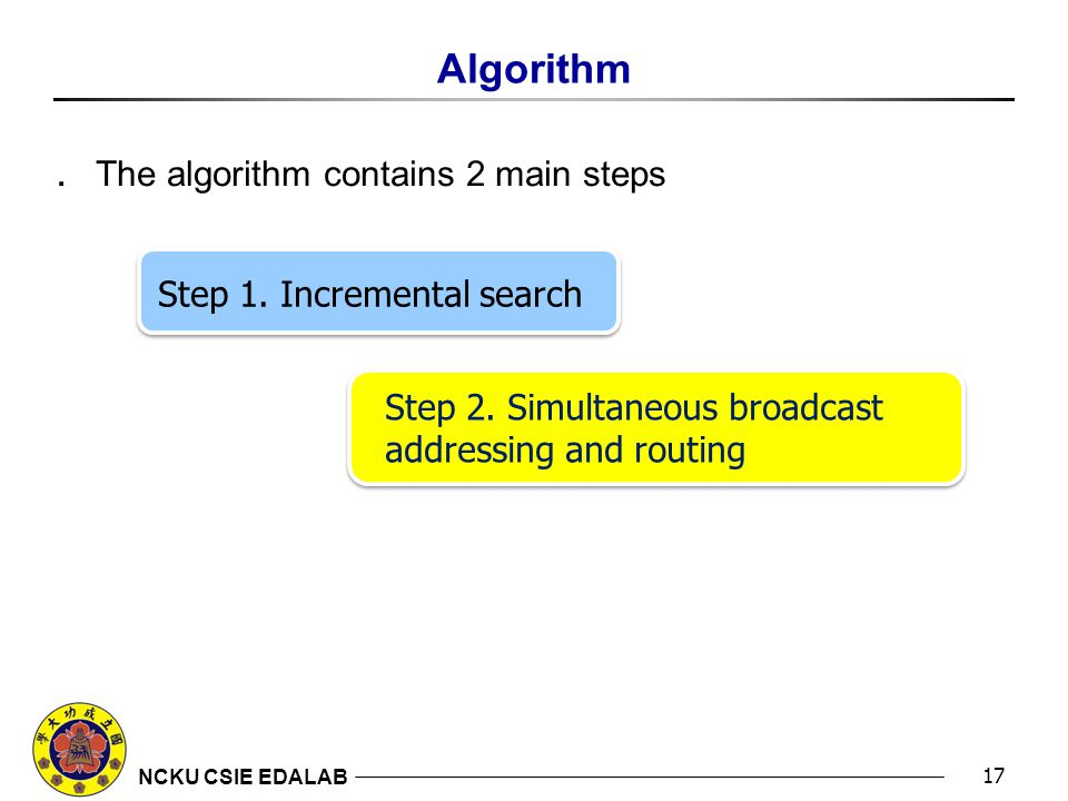 NCKU CSIE EDALAB Algorithm 17 ․ The algorithm contains 2 main steps Step 1.
