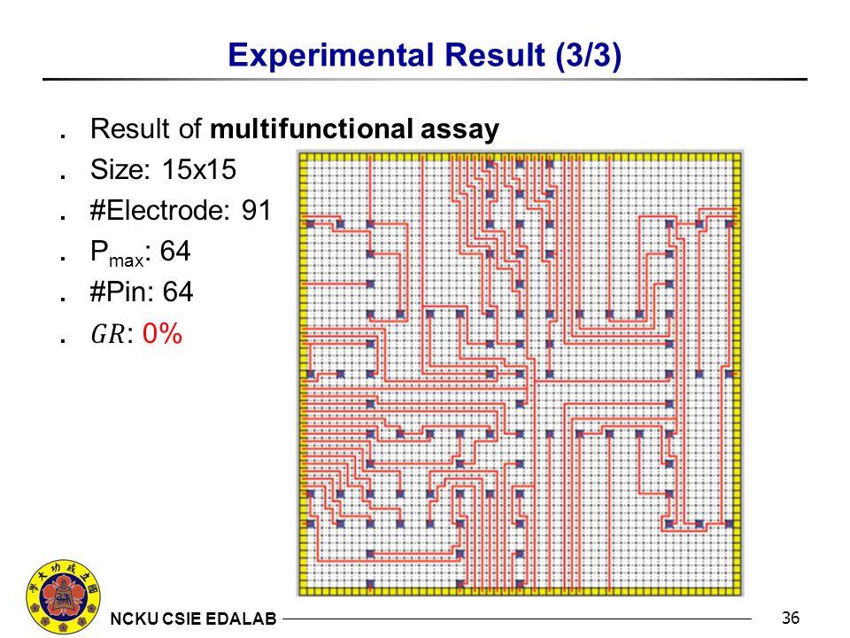 NCKU CSIE EDALAB Experimental Result (3/3) 36