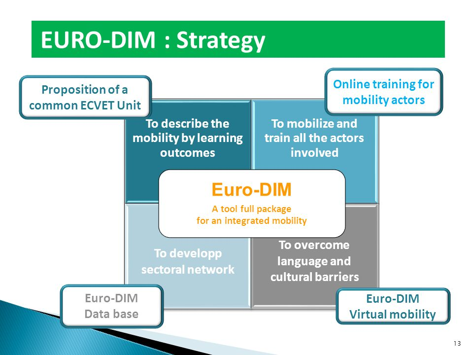 To describe the mobility by learning outcomes To mobilize and train all the actors involved To developp sectoral network To overcome language and cultural barriers Euro-DIM A tool full package for an integrated mobility Proposition of a common ECVET Unit Online training for mobility actors Euro-DIM Data base Euro-DIM Virtual mobility EURO-DIM : Strategy 13