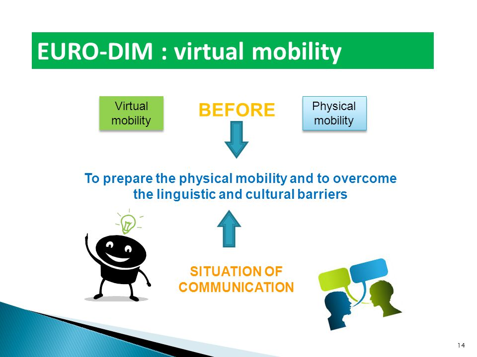 EURO-DIM : virtual mobility Physical mobility BEFORE To prepare the physical mobility and to overcome the linguistic and cultural barriers SITUATION OF COMMUNICATION Virtual mobility 14