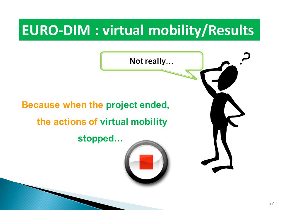 Because when the project ended, the actions of virtual mobility stopped… EURO-DIM : virtual mobility/Results Not really… 27