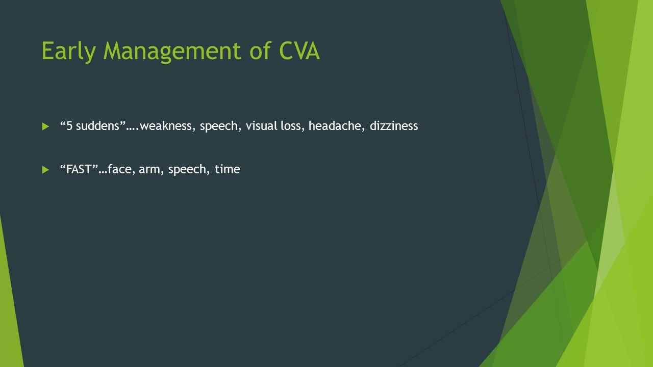 Early Management of CVA  5 suddens ….weakness, speech, visual loss, headache, dizziness  FAST …face, arm, speech, time